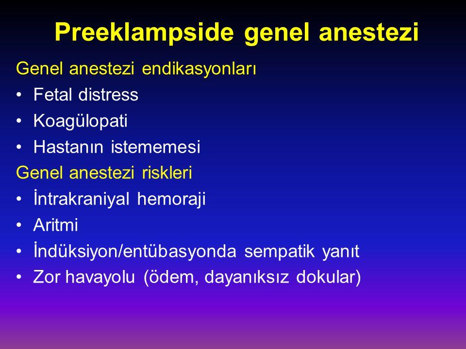 Preeklampside genel anestezi Genel anestezi endikasyonları Genel anestezi endikasyonları Fetal distress Koagülopati Hastanın istememesi Genel anestezi