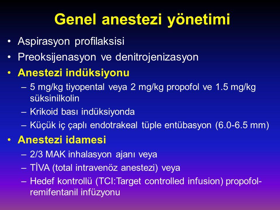 Genel anestezi yönetimi Aspirasyon profilaksisi Preoksijenasyon ve denitrojenizasyon Anestezi indüksiyonu –5 mg/kg tiyopental veya 2 mg/kg propofol ve