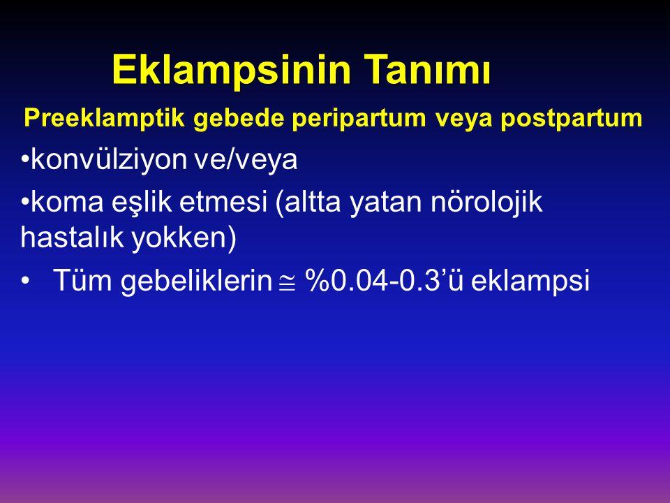 Eklampsinin Tanımı Preeklamptik gebede peripartum veya postpartum konvülziyon ve/veya koma eşlik etmesi (altta yatan nörolojik hastalık yokken) Tüm ge
