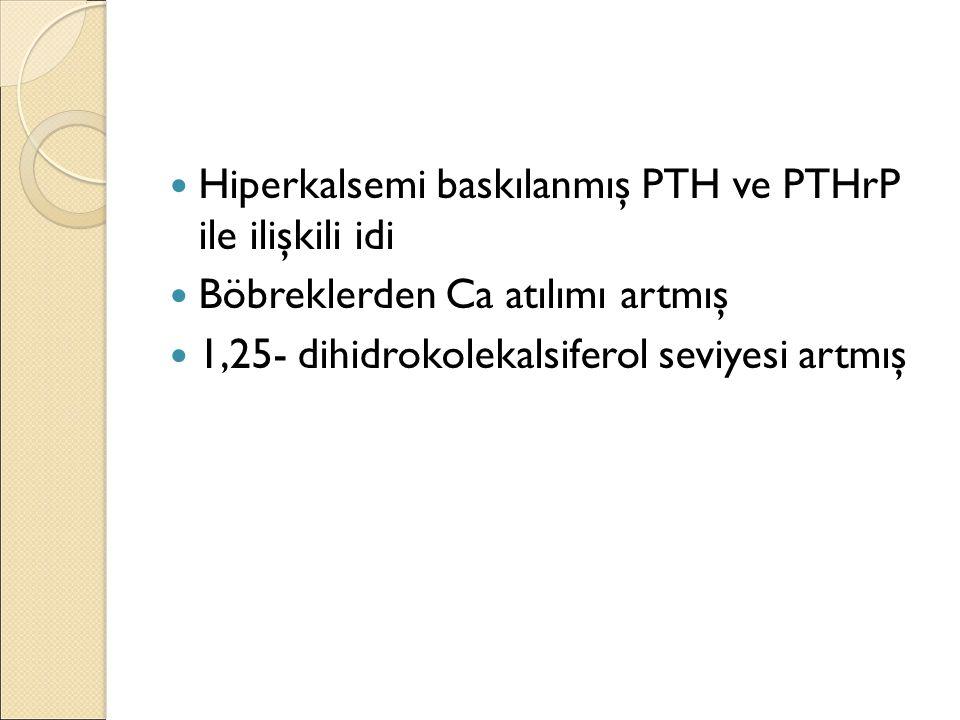 Hiperkalsemi baskılanmış PTH ve PTHrP ile ilişkili idi Böbreklerden Ca atılımı artmış 1,25- dihidrokolekalsiferol seviyesi artmış