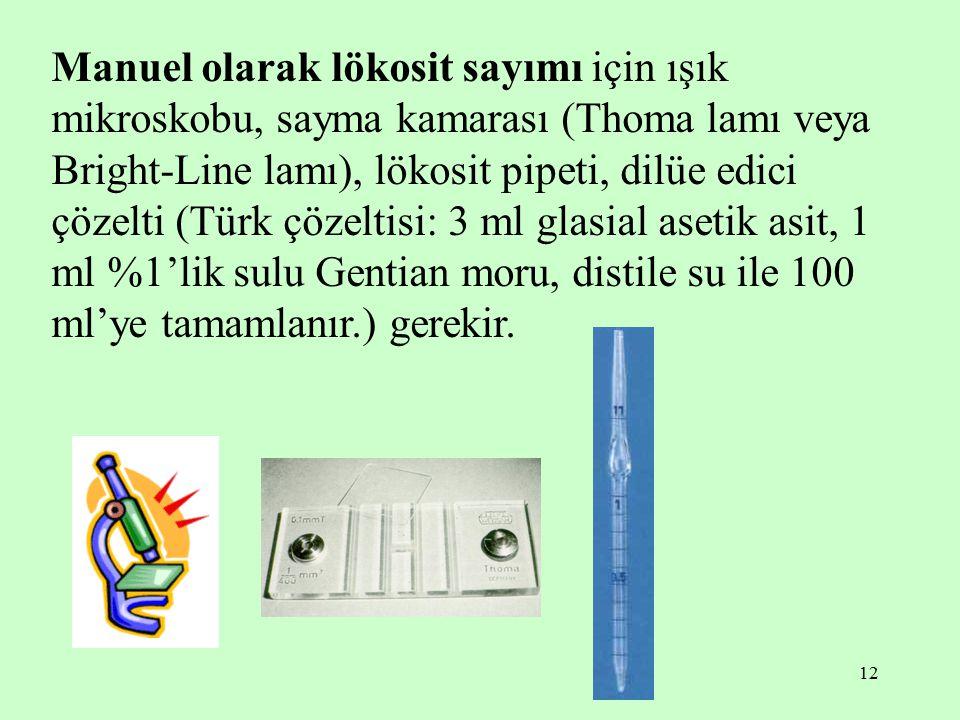 12 Manuel olarak lökosit sayımı için ışık mikroskobu, sayma kamarası (Thoma lamı veya Bright-Line lamı), lökosit pipeti, dilüe edici çözelti (Türk çöz