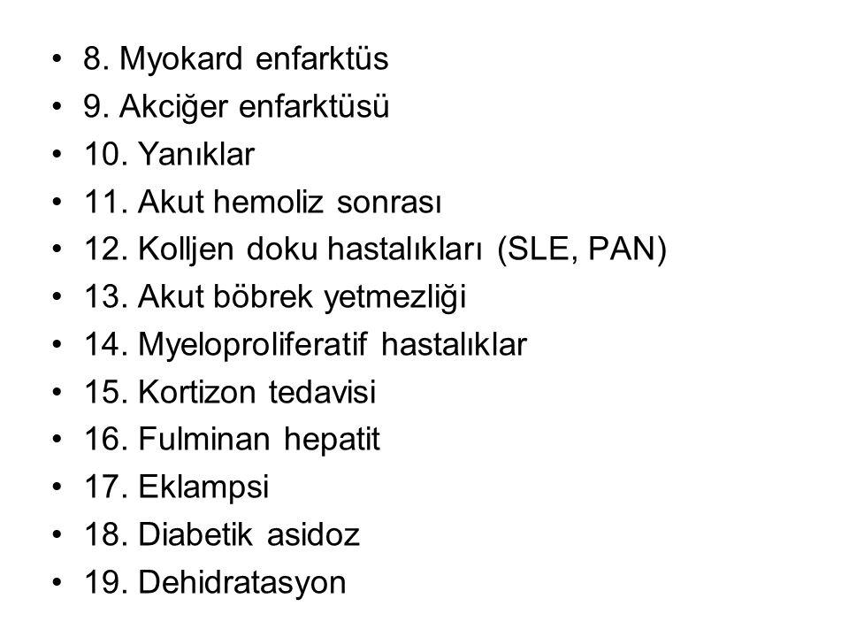 8.Myokard enfarktüs 9. Akciğer enfarktüsü 10. Yanıklar 11.