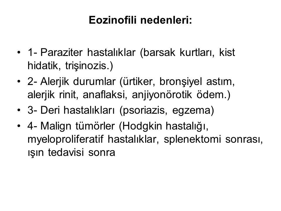 Eozinofili nedenleri: 1- Paraziter hastalıklar (barsak kurtları, kist hidatik, trişinozis.) 2- Alerjik durumlar (ürtiker, bronşiyel astım, alerjik rinit, anaflaksi, anjiyonörotik ödem.) 3- Deri hastalıkları (psoriazis, egzema) 4- Malign tümörler (Hodgkin hastalığı, myeloproliferatif hastalıklar, splenektomi sonrası, ışın tedavisi sonra
