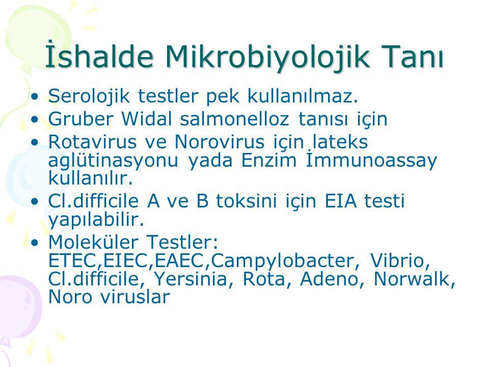 İshalde Mikrobiyolojik Tanı Serolojik testler pek kullanılmaz. Gruber Widal salmonelloz tanısı için Rotavirus ve Norovirus için lateks aglütinasyonu y