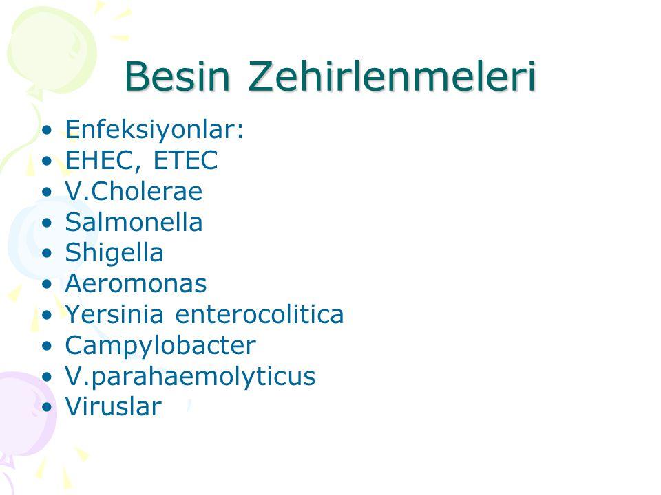 Besin Zehirlenmeleri Enfeksiyonlar: EHEC, ETEC V.Cholerae Salmonella Shigella Aeromonas Yersinia enterocolitica Campylobacter V.parahaemolyticus Virus