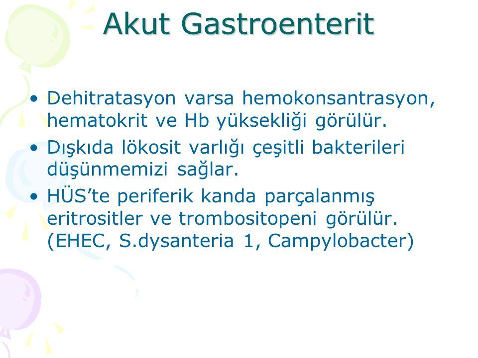Akut Gastroenterit Dehitratasyon varsa hemokonsantrasyon, hematokrit ve Hb yüksekliği görülür. Dışkıda lökosit varlığı çeşitli bakterileri düşünmemizi