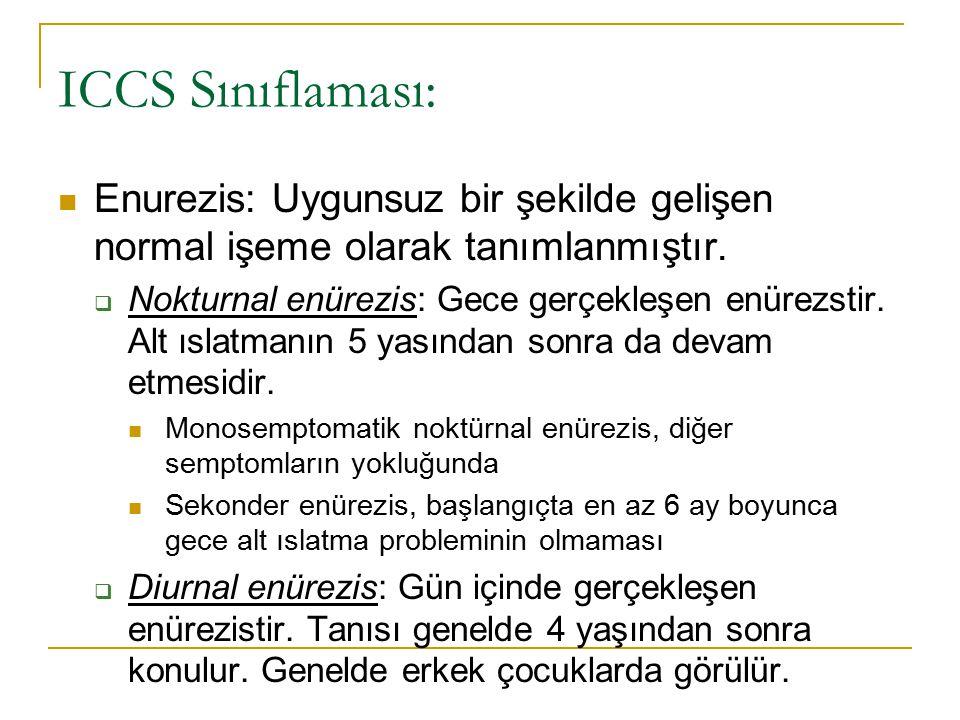 ICCS Sınıflaması: Enurezis: Uygunsuz bir şekilde gelişen normal işeme olarak tanımlanmıştır.  Nokturnal enürezis: Gece gerçekleşen enürezstir. Alt ıs