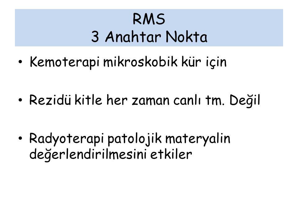 RMS 3 Anahtar Nokta Kemoterapi mikroskobik kür için Rezidü kitle her zaman canlı tm. Değil Radyoterapi patolojik materyalin değerlendirilmesini etkile
