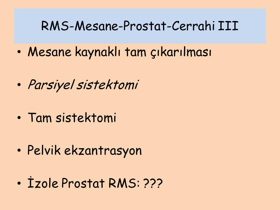 RMS-Mesane-Prostat-Cerrahi III Mesane kaynaklı tam çıkarılması Parsiyel sistektomi Tam sistektomi Pelvik ekzantrasyon İzole Prostat RMS: ???