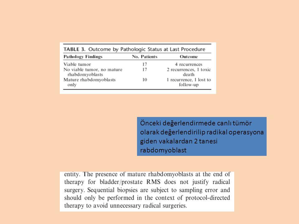 Önceki değerlendirmede canlı tümör olarak değerlendirilip radikal operasyona giden vakalardan 2 tanesi rabdomyoblast
