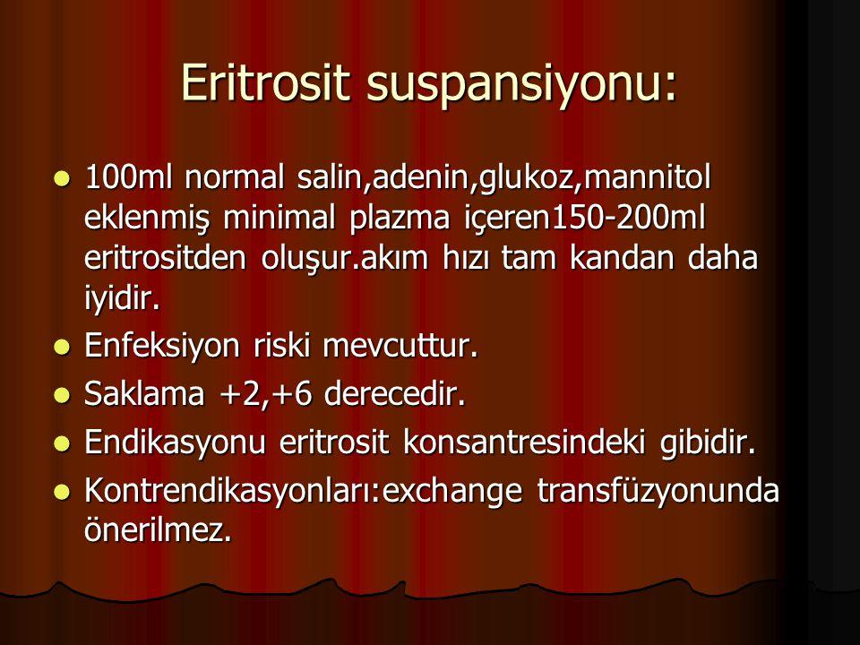 Eritrosit suspansiyonu: 100ml normal salin,adenin,glukoz,mannitol eklenmiş minimal plazma içeren150-200ml eritrositden oluşur.akım hızı tam kandan daha iyidir.
