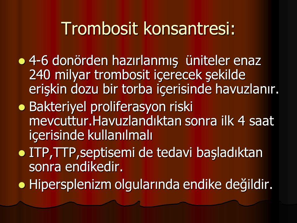 Trombosit konsantresi: 4-6 donörden hazırlanmış üniteler enaz 240 milyar trombosit içerecek şekilde erişkin dozu bir torba içerisinde havuzlanır.