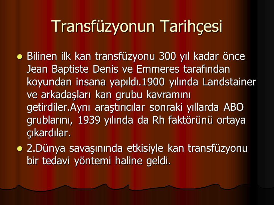 Transfüzyonun Tarihçesi Bilinen ilk kan transfüzyonu 300 yıl kadar önce Jean Baptiste Denis ve Emmeres tarafından koyundan insana yapıldı.1900 yılında Landstainer ve arkadaşları kan grubu kavramını getirdiler.Aynı araştırıcılar sonraki yıllarda ABO grublarını, 1939 yılında da Rh faktörünü ortaya çıkardılar.