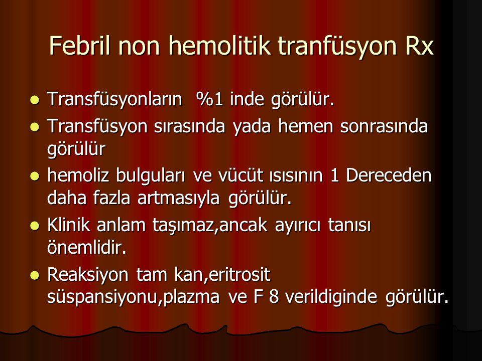 Febril non hemolitik tranfüsyon Rx Transfüsyonların %1 inde görülür.