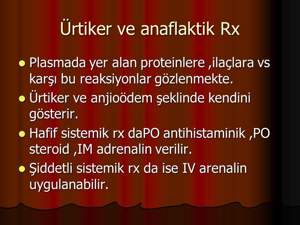 Ürtiker ve anaflaktik Rx Plasmada yer alan proteinlere,ilaçlara vs karşı bu reaksiyonlar gözlenmekte.
