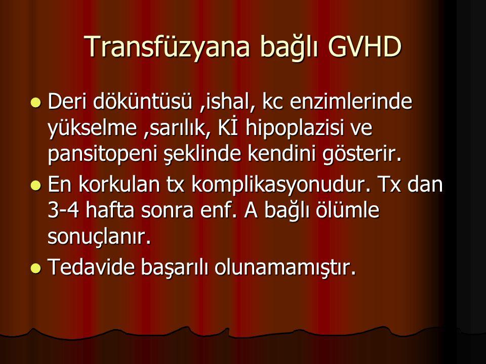 Transfüzyana bağlı GVHD Deri döküntüsü,ishal, kc enzimlerinde yükselme,sarılık, Kİ hipoplazisi ve pansitopeni şeklinde kendini gösterir.