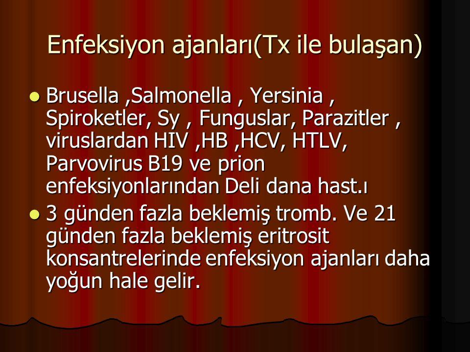 Enfeksiyon ajanları(Tx ile bulaşan) Brusella,Salmonella, Yersinia, Spiroketler, Sy, Funguslar, Parazitler, viruslardan HIV,HB,HCV, HTLV, Parvovirus B19 ve prion enfeksiyonlarından Deli dana hast.ı Brusella,Salmonella, Yersinia, Spiroketler, Sy, Funguslar, Parazitler, viruslardan HIV,HB,HCV, HTLV, Parvovirus B19 ve prion enfeksiyonlarından Deli dana hast.ı 3 günden fazla beklemiş tromb.