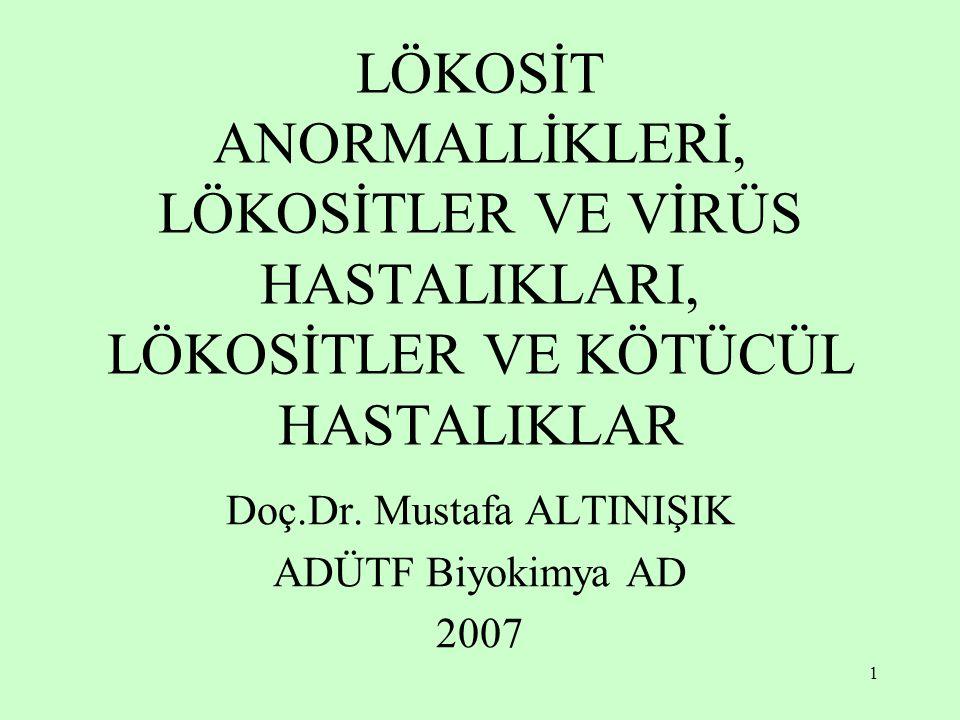 1 LÖKOSİT ANORMALLİKLERİ, LÖKOSİTLER VE VİRÜS HASTALIKLARI, LÖKOSİTLER VE KÖTÜCÜL HASTALIKLAR Doç.Dr. Mustafa ALTINIŞIK ADÜTF Biyokimya AD 2007