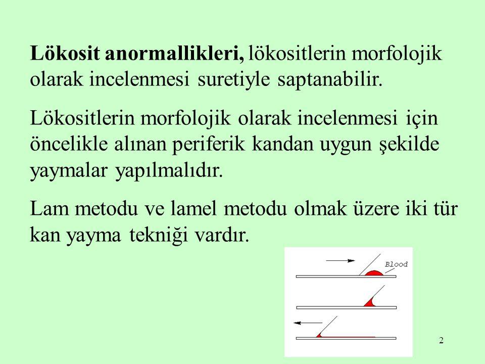 2 Lökosit anormallikleri, lökositlerin morfolojik olarak incelenmesi suretiyle saptanabilir. Lökositlerin morfolojik olarak incelenmesi için öncelikle