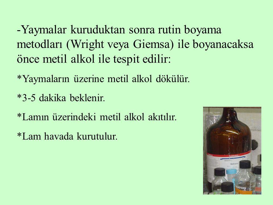 7 -Yaymalar kuruduktan sonra rutin boyama metodları (Wright veya Giemsa) ile boyanacaksa önce metil alkol ile tespit edilir: *Yaymaların üzerine metil