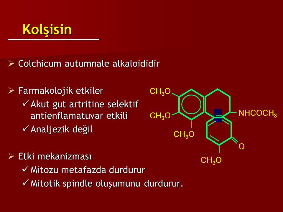 KolşisinKolşisin  Colchicum autumnale alkaloididir  Farmakolojik etkiler Akut gut artritine selektif antienflamatuvar etkili Akut gut artritine sele