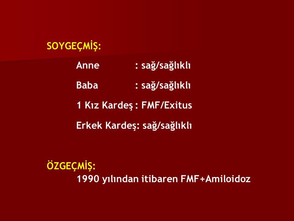 SOYGEÇMİŞ: Anne : sağ/sağlıklı Baba : sağ/sağlıklı 1 Kız Kardeş: FMF/Exitus Erkek Kardeş: sağ/sağlıklı ÖZGEÇMİŞ: 1990 yılından itibaren FMF+Amiloidoz