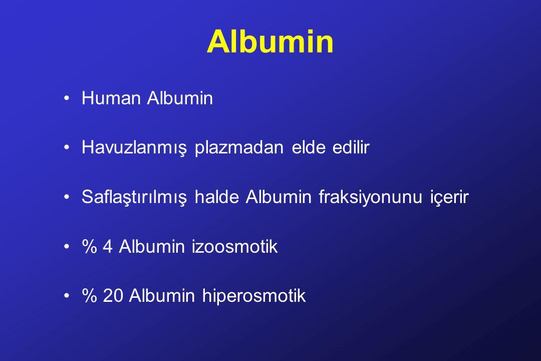 Albumin Human Albumin Havuzlanmış plazmadan elde edilir Saflaştırılmış halde Albumin fraksiyonunu içerir % 4 Albumin izoosmotik % 20 Albumin hiperosmotik