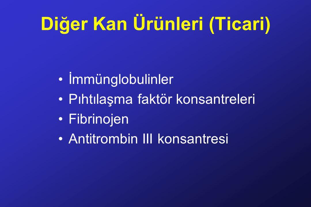 Diğer Kan Ürünleri (Ticari) İmmünglobulinler Pıhtılaşma faktör konsantreleri Fibrinojen Antitrombin III konsantresi