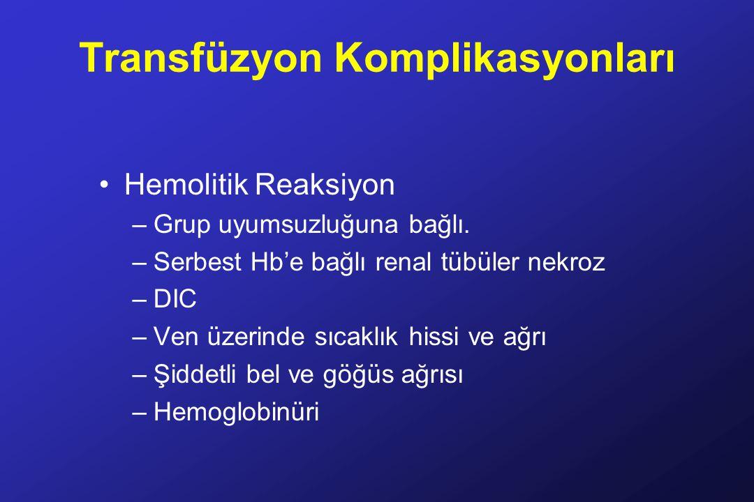 Transfüzyon Komplikasyonları Hemolitik Reaksiyon –Grup uyumsuzluğuna bağlı.