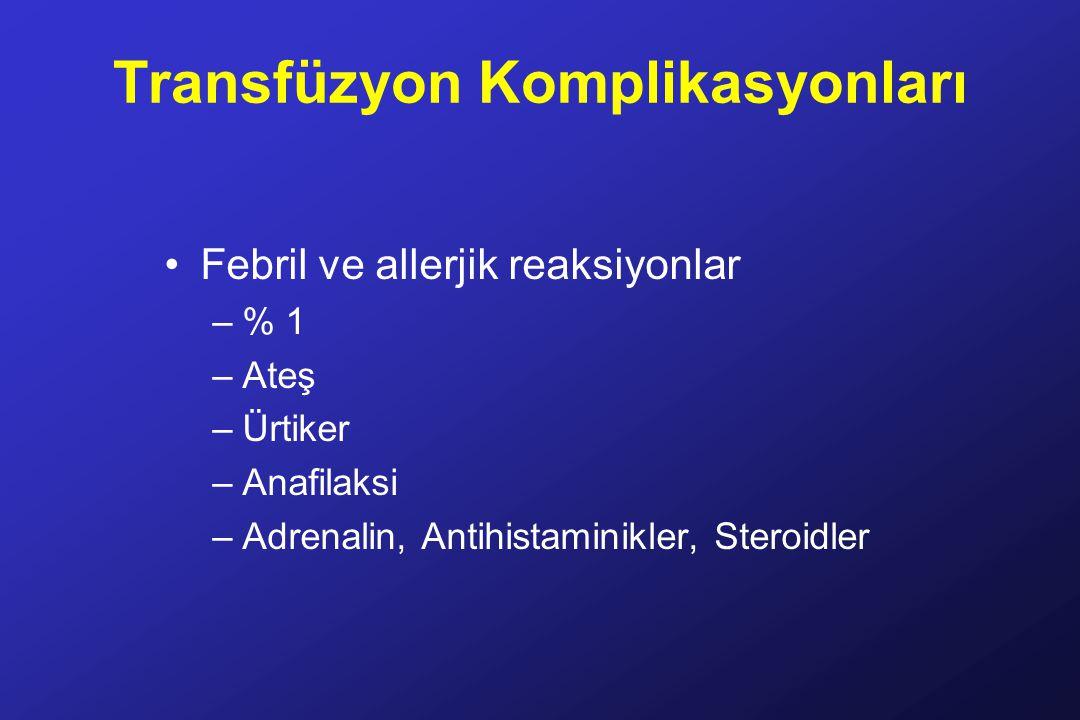 Transfüzyon Komplikasyonları Febril ve allerjik reaksiyonlar –% 1 –Ateş –Ürtiker –Anafilaksi –Adrenalin, Antihistaminikler, Steroidler