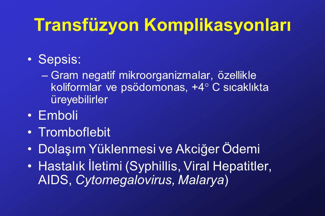 Transfüzyon Komplikasyonları Sepsis: –Gram negatif mikroorganizmalar, özellikle koliformlar ve psödomonas, +4° C sıcaklıkta üreyebilirler Emboli Tromboflebit Dolaşım Yüklenmesi ve Akciğer Ödemi Hastalık İletimi (Syphillis, Viral Hepatitler, AIDS, Cytomegalovirus, Malarya)