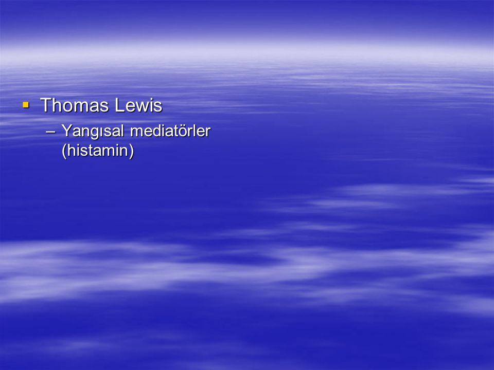  Thomas Lewis –Yangısal mediatörler (histamin)