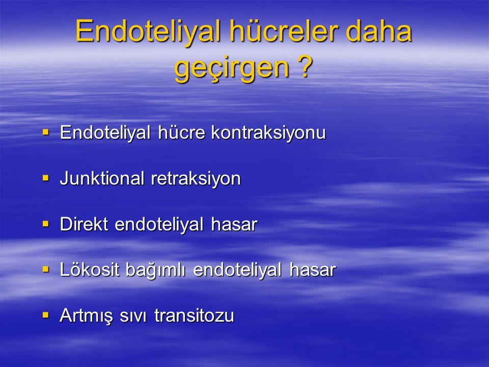Endoteliyal hücreler daha geçirgen ?  Endoteliyal hücre kontraksiyonu  Junktional retraksiyon  Direkt endoteliyal hasar  Lökosit bağımlı endoteliy