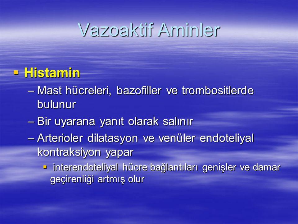 Vazoaktif Aminler  Histamin –Mast hücreleri, bazofiller ve trombositlerde bulunur –Bir uyarana yanıt olarak salınır –Arterioler dilatasyon ve venüler