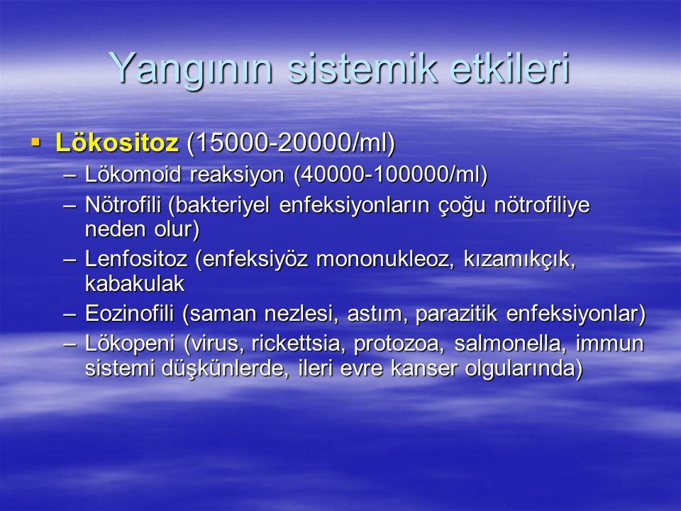 Yangının sistemik etkileri  Lökositoz (15000-20000/ml) –Lökomoid reaksiyon (40000-100000/ml) –Nötrofili (bakteriyel enfeksiyonların çoğu nötrofiliye