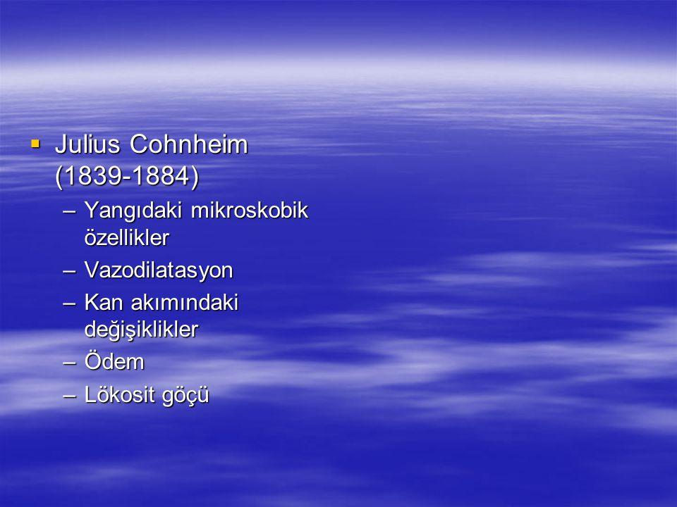  Julius Cohnheim (1839-1884) –Yangıdaki mikroskobik özellikler –Vazodilatasyon –Kan akımındaki değişiklikler –Ödem –Lökosit göçü