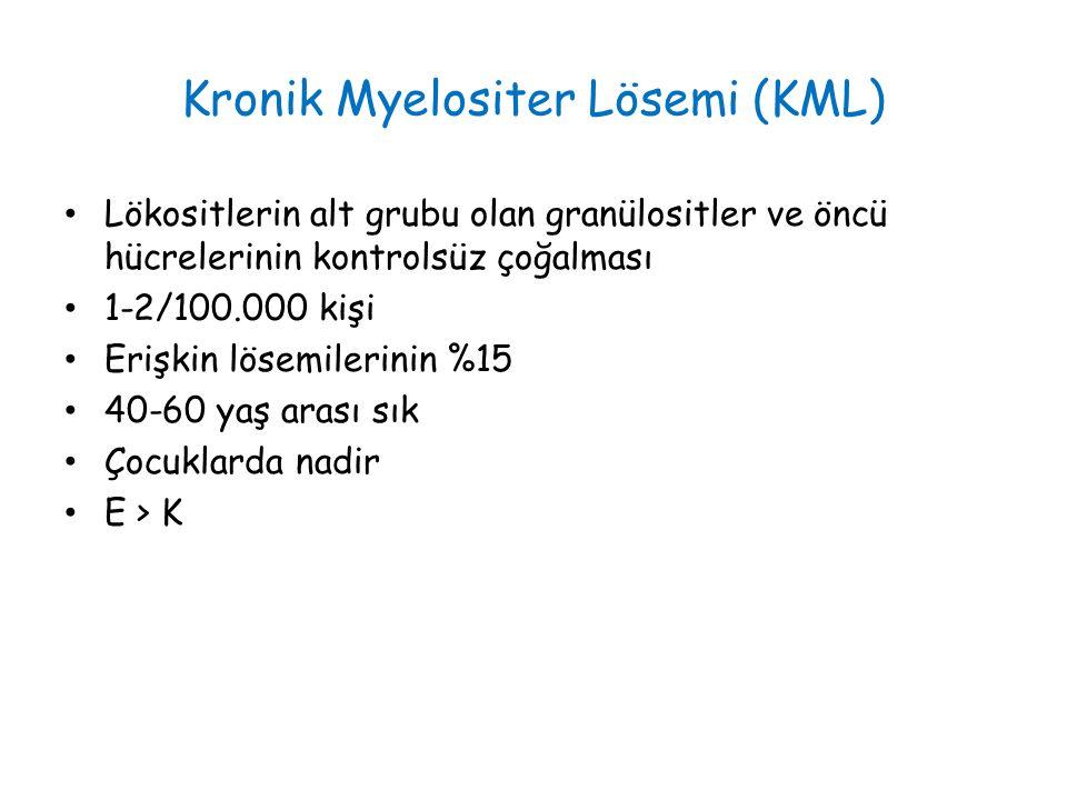 Kronik Myelositer Lösemi (KML) Lökositlerin alt grubu olan granülositler ve öncü hücrelerinin kontrolsüz çoğalması 1-2/100.000 kişi Erişkin lösemilerinin %15 40-60 yaş arası sık Çocuklarda nadir E > K