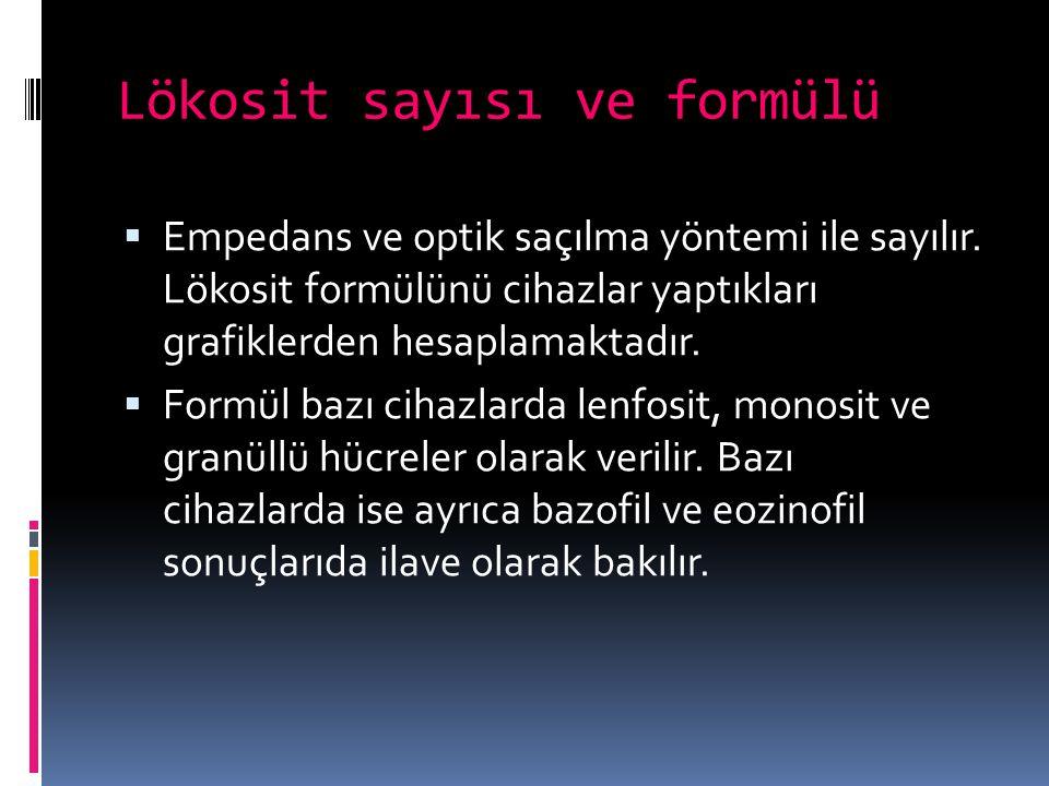 Lökosit sayısı ve formülü  Empedans ve optik saçılma yöntemi ile sayılır. Lökosit formülünü cihazlar yaptıkları grafiklerden hesaplamaktadır.  Formü