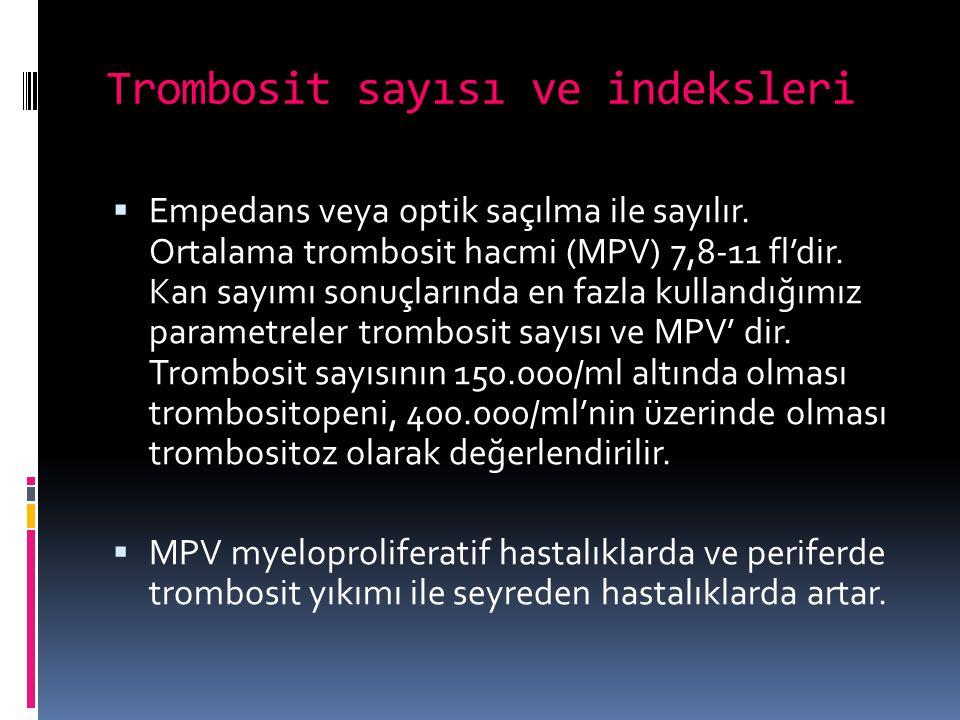 Trombosit sayısı ve indeksleri  Empedans veya optik saçılma ile sayılır. Ortalama trombosit hacmi (MPV) 7,8-11 fl'dir. Kan sayımı sonuçlarında en faz