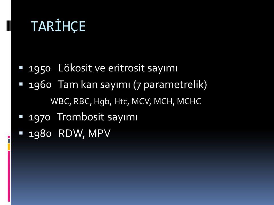 TARİHÇE  1950 Lökosit ve eritrosit sayımı  1960 Tam kan sayımı (7 parametrelik) WBC, RBC, Hgb, Htc, MCV, MCH, MCHC  1970 Trombosit sayımı  1980 RD