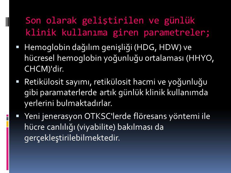 Son olarak geliştirilen ve günlük klinik kullanıma giren parametreler;  Hemoglobin dağılım genişliği (HDG, HDW) ve hücresel hemoglobin yoğunluğu orta