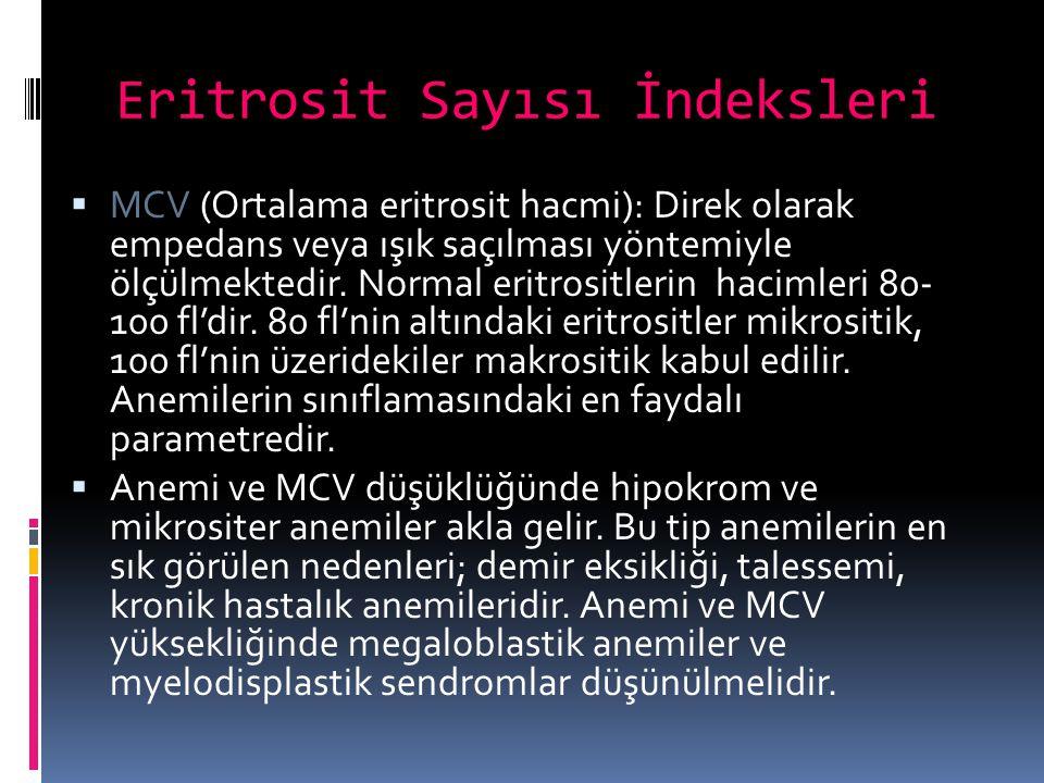 Eritrosit Sayısı İndeksleri  MCV (Ortalama eritrosit hacmi): Direk olarak empedans veya ışık saçılması yöntemiyle ölçülmektedir. Normal eritrositleri