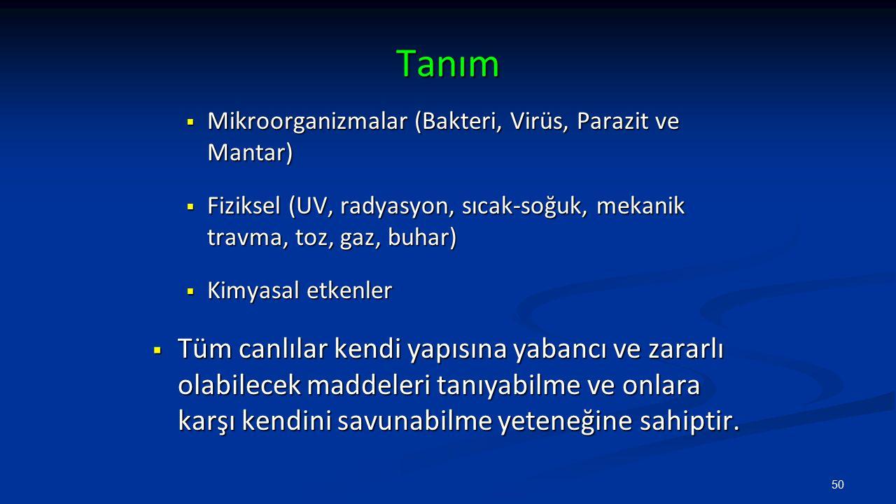 Tanım  Mikroorganizmalar (Bakteri, Virüs, Parazit ve Mantar)  Fiziksel (UV, radyasyon, sıcak-soğuk, mekanik travma, toz, gaz, buhar)  Kimyasal etke