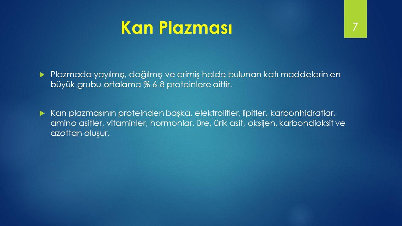  Albumin: Plazma proteinlerinin yaklaşık % 60'nı oluşturur, plazmadaki miktarı 3,4 - 5 g/dl'dir.