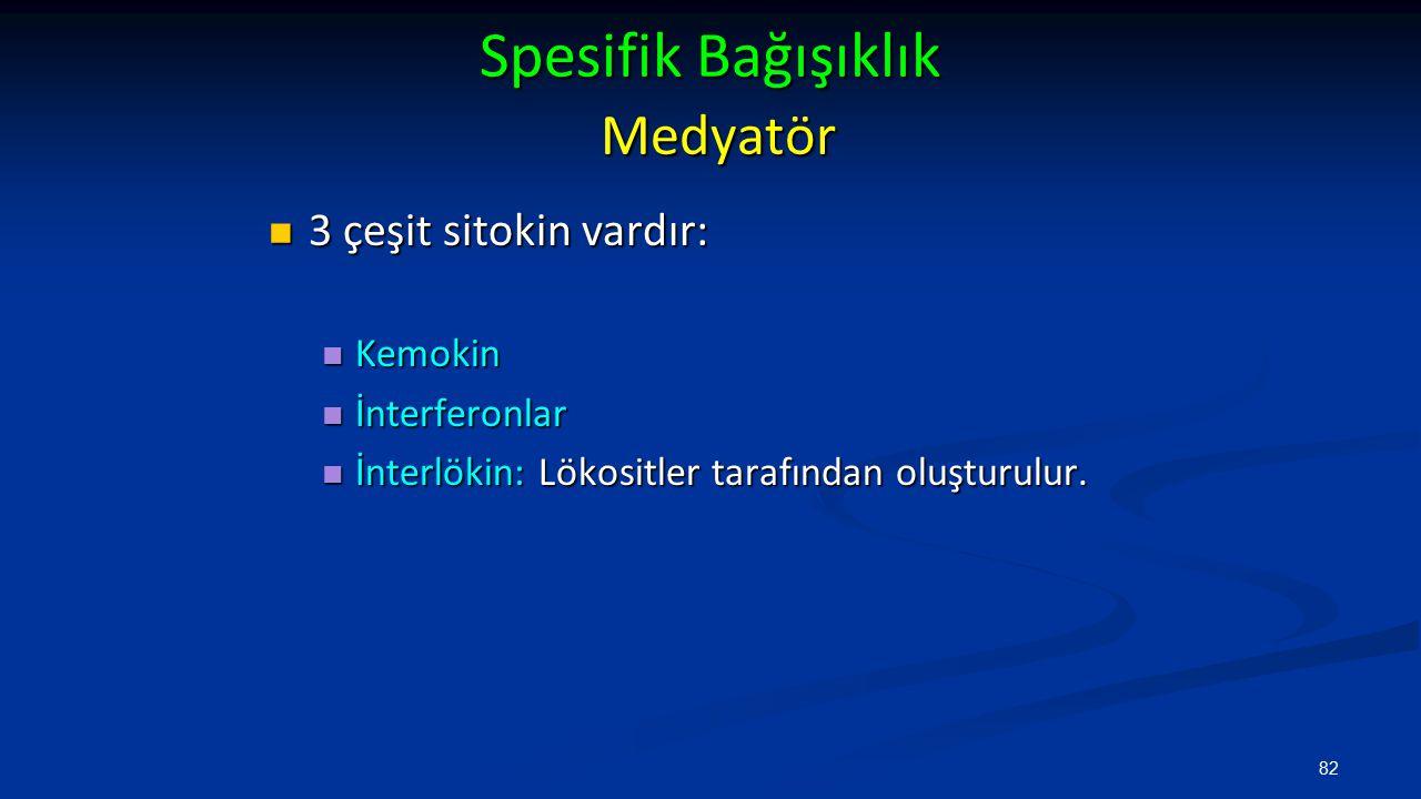 Spesifik Bağışıklık Medyatör 3 çeşit sitokin vardır: 3 çeşit sitokin vardır: Kemokin Kemokin İnterferonlar İnterferonlar İnterlökin: Lökositler tarafı