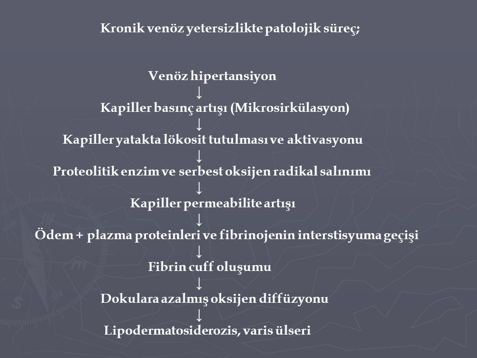 Kronik venöz yetersizlikte patolojik süreç; Venöz hipertansiyon ↓ Kapiller basınç artışı (Mikrosirkülasyon) ↓ Kapiller yatakta lökosit tutulması ve aktivasyonu ↓ Proteolitik enzim ve serbest oksijen radikal salınımı ↓ Kapiller permeabilite artışı ↓ Ödem + plazma proteinleri ve fibrinojenin interstisyuma geçişi ↓ Fibrin cuff oluşumu ↓ Dokulara azalmış oksijen diffüzyonu ↓ Lipodermatosiderozis, varis ülseri