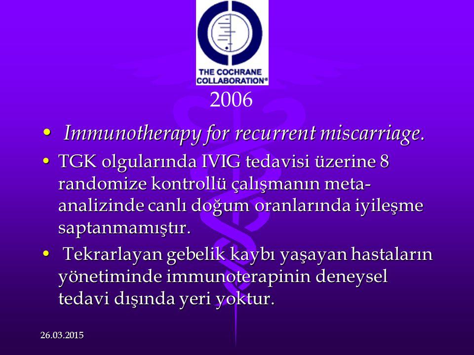 Immunotherapy for recurrent miscarriage. Immunotherapy for recurrent miscarriage. TGK olgularında IVIG tedavisi üzerine 8 randomize kontrollü çalışman