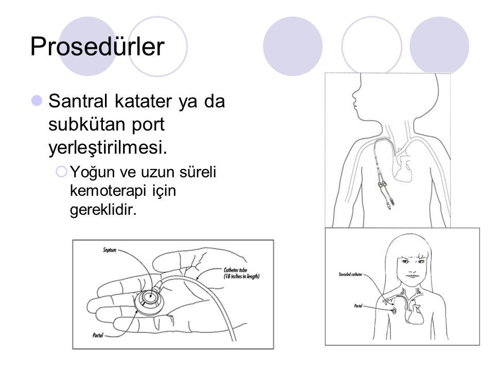 Prosedürler Santral katater ya da subkütan port yerleştirilmesi.  Yoğun ve uzun süreli kemoterapi için gereklidir.