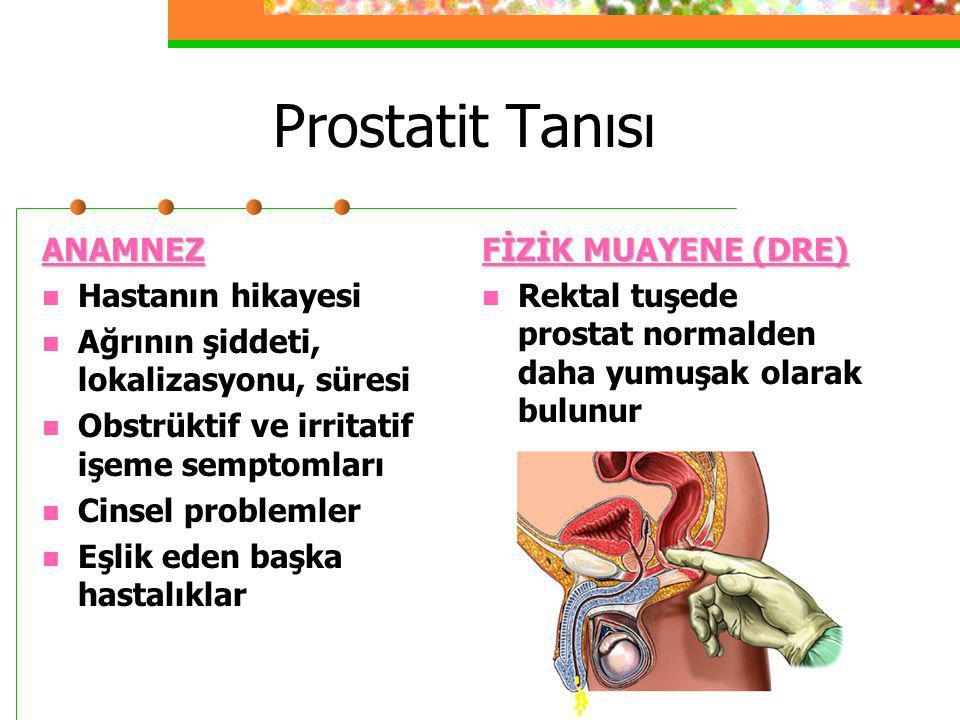 Prostatit Tanısı ANAMNEZ Hastanın hikayesi Ağrının şiddeti, lokalizasyonu, süresi Obstrüktif ve irritatif işeme semptomları Cinsel problemler Eşlik ed