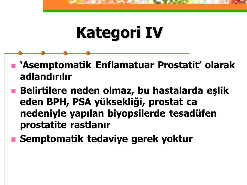 Kategori IV 'Asemptomatik Enflamatuar Prostatit' olarak adlandırılır Belirtilere neden olmaz, bu hastalarda eşlik eden BPH, PSA yüksekliği, prostat ca